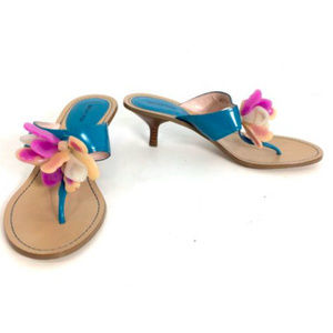 What For Blue T-strap Low Heel Thong Sandals